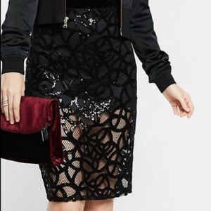 NWT Express black lace & sequin pencil skirt, 2